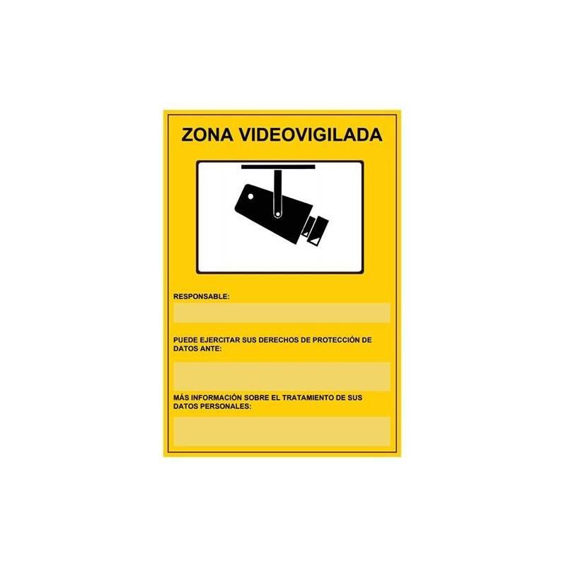 PLACA DE PLASTICO ZONA VIDEOVIGILADA HOMOLOGADA